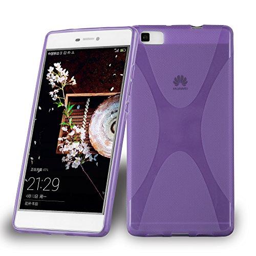 Cadorabo Hülle für Huawei P8 Max Hülle in Handyhülle aus flexiblem TPU Silikon im X-Line Design Silikonhülle Schutzhülle Soft Back Cover Case Bumper Flieder Violett
