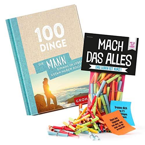 Monsterzeug 2er Geschenkset Männer, Mach das Alles Lose, Buch 100 Dinge die Mann getan haben muss, 50 Papierlose mit Challenges