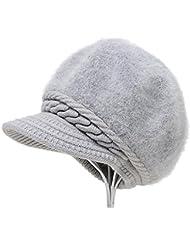 Hat Sombrero de invierno de mujer de punto Mantener cálida lana Cap ( Color : Gray )