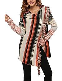 16e087edbcdcb Fräulein Fox Femmes Printemps Automne Irregulier Tricot Cardigan avec  Frange Casual Manches Longues Cape Pulls Vestes