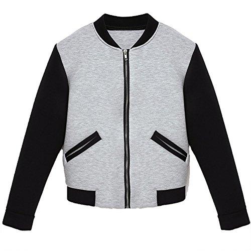 Damen Langarm Casual Langarm Talliert Rundkragen Tasche Boleros Mantel-Damen Zipjacke Jacke sweatshirt Tops Herbst Winter (L, Weiß) (Gehäkelte Stretch-rock)