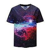Uomo T-Shirt Slim Fit con Cappuccio Felpe Moda Top Maniche Corta Stampa 3D Stelle da Uomo Camicie da Uomini Qinsling