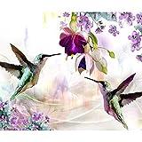 decomonkey | Papier peint intissé Fleurs Oiseau 350x256 cm XL Trompe l oeil | Déco Mural Tableaux Muraux Photo Colibri coloré
