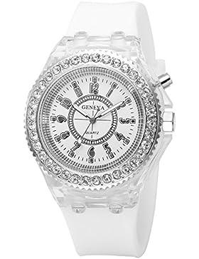 AMPM24 Damen Armbanduhr Licht mit 7 Farben Weiß Silikon Band Quarzuhr WAA921