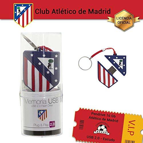 Memoria USB 2.0 Flash Drive de 16GB Atlético de Madrid USB 2.0, Pendrive Llavero Liciencia Oficial. Escudo