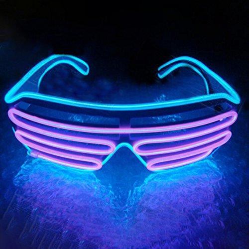 Gladle Gladle EL Draht Rave Sonnenbrille LED leuchten Party Brille Eisblauer Rahmen rosa Spiegel