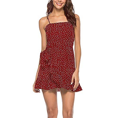 iHENGH Damen Frühling Sommer Rock Bequem Lässig Mode Kleider Frauen Röcke Womens Casual Floral Summer Beach Einstellbare Spaghetti-Trägern Kurzes Minikleid(Rot, S) -