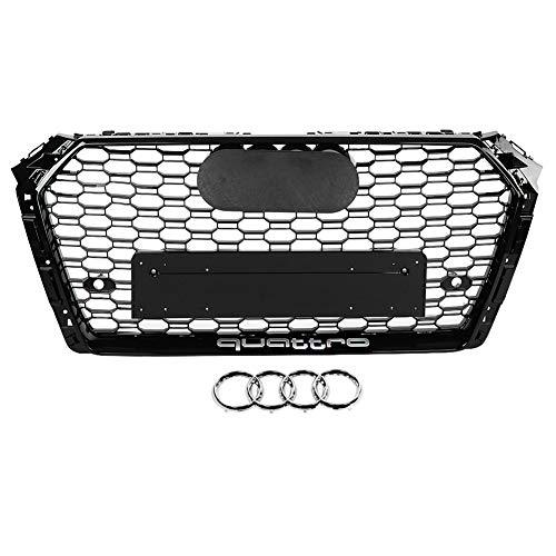 KIMISS RS4 Style Front Sport Hex Mesh Honeycomb Haubengrill Schwarz glänzend für A4 / S4 B9 17-18...