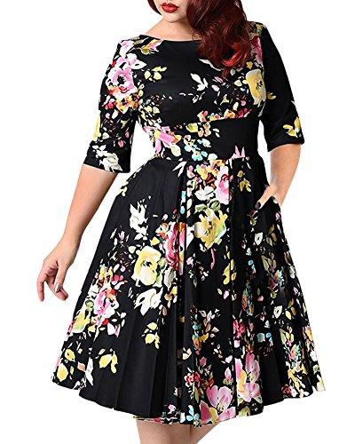 Donna eleganti corti cerimonia da sera cocktail festa abito vintage stampato floreali in pizzo con scollo a v sulla schiena nero 3xl