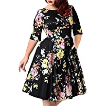 Mujer Vintage Vestido De Fiesta Impresión Flores Manga Corta V-Cuello Vestido De Fiesta