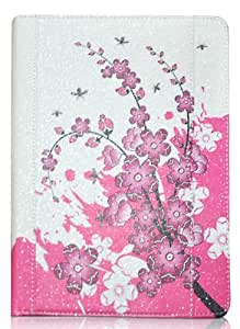 Jammylizard Glam Collezione Leather Wallet Smart Case with Sleep Function for iPad Air CHERRY BLOSSOM