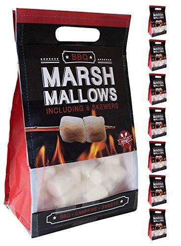 BeckyŽs 300g Marshmallows Classic, Non Teint, 6 brochettes de feu de Camp pour Griller, 8 x 300g