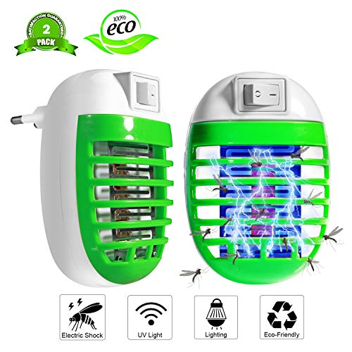 Eléctrico Repelente Mosquito Tropical, Mata Mosquitos Electrico, Anti Mosquitos Killer, FishOaky 2 Pack UV Lámpara Antimosquitos para Mosquitos para los Hogares, Patios, Jardines, Oficinas, Tiendas