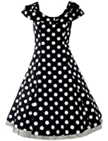 50's Retro Collar Dress Big Polka Dot Black & White
