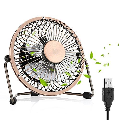 USB Fan, Desktop Fan Mini USB Fan Table Desk Personal Fan, Mini Table Fan Quiet Operation Desk Fan Suitable for Home Office Travelling Household, 6 inch Bronze …