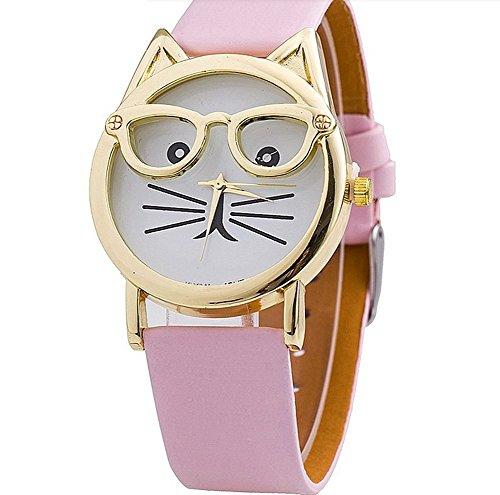 2015New Fashion Brille Katze Armbanduhr Lederband Armbanduhr Damen Kleid Armbanduhr Uhren Quarz (Katze Brillen)