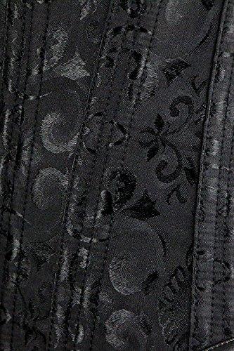 Kimring Women's Vintage Palace Jacquard Body Shaper Strapless Overbust Corset Steel-Black