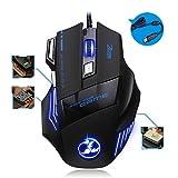 TRDCZ Mouse Ottico Da Gioco USB Con Cavo USB Da 5500 DPI 7 Pulsanti LED Per Pro Gamer