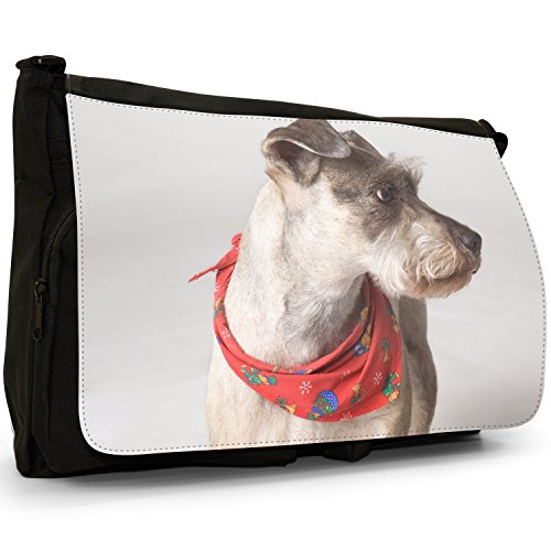 Fancy A Bag Borsa Messenger nero Samoyed Dog Miniature Schnauzer Dog