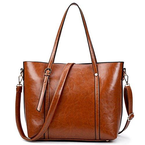 PDFGO Tote Bag Handtaschen Mode Einfache Paket PU Tasche Schulter Handtasche Handtasche Brown