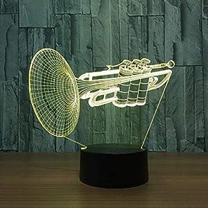 Generic Schreibtischlampe Kinder Instrumente Trompete 3D Nachtlicht Led 7 Farbwechsel Schreibtisch Tischlampe Musikinstrumente Innenausstattung Wohnaccessoires
