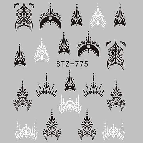 NCKLY Nagel-Aufkleber 1 Blatt Schmuck Blume Wasser Aufkleber Schwarz Aufkleber Für Nagel Muster Malerei Packpapier Folienspitze Tattoo Maniküre