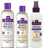 Aussie FRIZZ MIRACLE Gift Set SHAMPOO 300ml CONDITIONER 250ml & MIRACLE FRIZZ REMEDY LEAVE IN CONDITIONING SPRAY 250ml