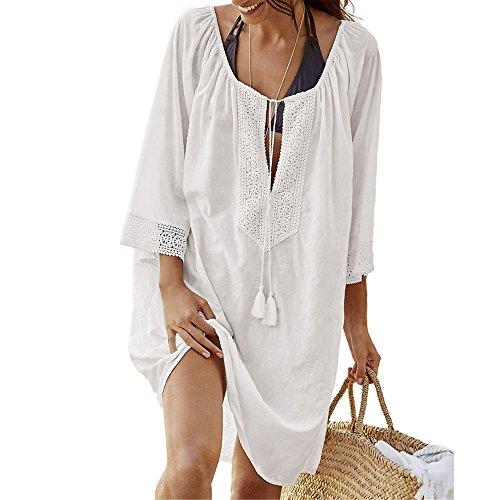 Hippolo Frauen vertuschen Badeanzüge V-Neck Quaste schwimmen tragen plus Größe lose Ärmel Bikini Kleid (Weiß) (Ärmel Pullover Kimono Kleid)