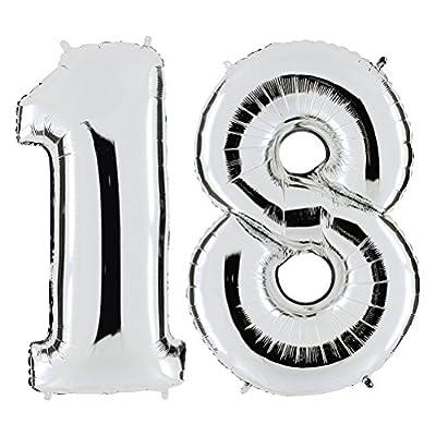 OULII Articles de fête ballons d'hélium Foil NO.18 pour anniversaire de mariage anniversaire décoration 40 pouces (argent)