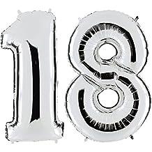 OULII 40 pulgadas número 18 helio globos para la decoración de cumpleaños boda aniversario (plata)