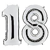 ULTNICE 40-Zoll-Nummer 18 Folie Luftballons Zahl Luftballons für Geburtstag Hochzeit Jubiläum Dekoration (Silber)