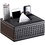 Handcuffs Multipurpose Desk Supplies Organisers PU Leather Tabletop Remote Holder Stand Organizer with Tissue Paper Box Holde