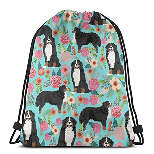 vintage cap Bernese Mountain Dog Florals Dog Dog Breed Cute Dogs Best Bernese Moutain Dog Design_189 3D Print Drawstring Backpack Rucksack Shoulder Bags Gym Bag for Adult 16.9
