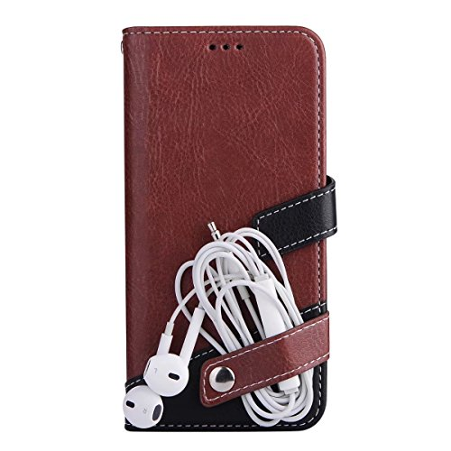 JIALUN-Telefon Fall Case Litchi Texture Dual Farbe genäht PU Leder Tasche mit Lanyard & Niet Button für iPhone 7 ( Color : Gray ) Brown