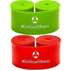 Completo Floss band »Herculexx«, banda elastica a compressione e resistenza per rafforzare i muscoli e le articolazioni, in rosso / verde