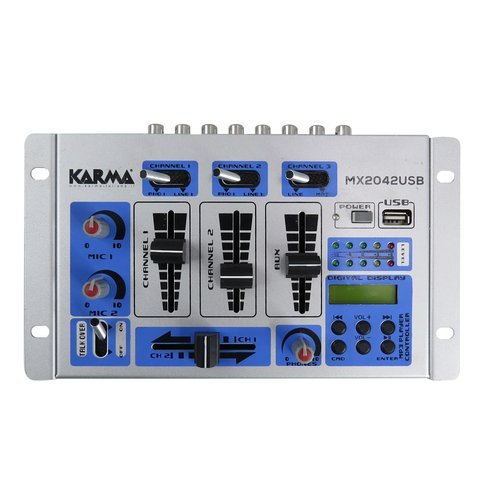 Mixer per dj con lettore mp3. usb 2.0. 5 canali. grigio/blu karma (1000027776)