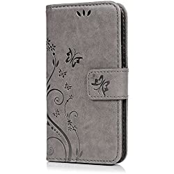 S5 Mini Housse MAXFE.CO Etui en PU Cuir Portefeuille Coque Protection avec Carte Slots Magnétique [Impression] pour Samsung Galaxy S5 Mini Papillon Fleur Relief Gris