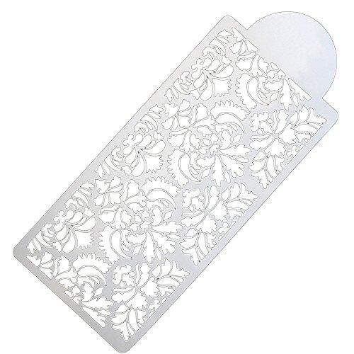 VICKY-HOHO Backen Werkzeug Side Decor Schimmel Damast Lace Flower Border Fondant Cake Schablone (Weiß)