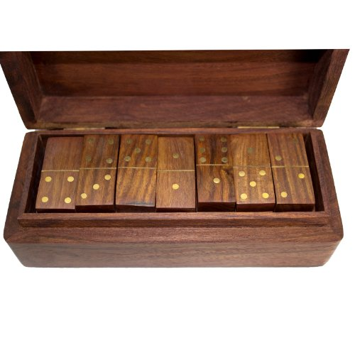 Vintage klassische Hand geschnitzte Holz Set 28 Reise Dominoes mit Fall - Klassische Hand Geschnitzte Holz