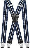 Decalen Hosenträger für Herren Breit 4 cm mit sehr Starken 4 Metall Clip Lang Einheitsgröße für Männer und Damen Einstellbar und Elastisch X Style (Blau Silber Schwarz)