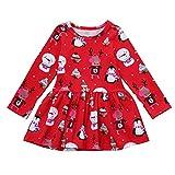 Ansenesna Weihnachten Kostüm Baby Mädchen Prinzessin Party Weihnachts Kleid Langarm Soft Elegant Kleidung (90, Rot)