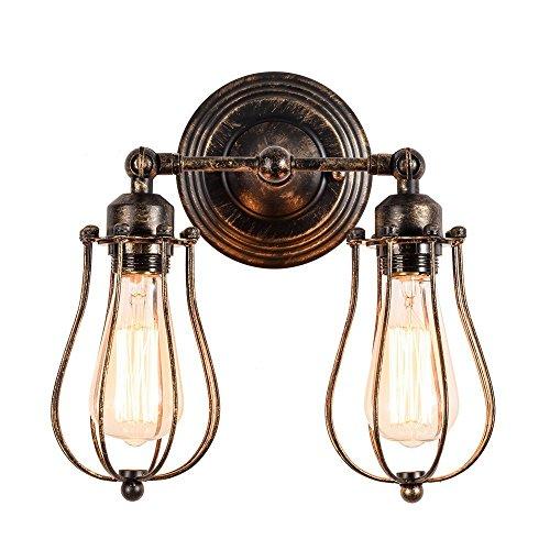 HEJU 2-Lichter Vintage Deckenleuchten for Schlafzimmer Wohnzimmer Metalldraht Käfig Lampe Semi-Flush Mount industrielle Leuchte Decke Bauernhaus Lampe (Color : Bronze) -