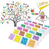 Almohadilla de tinta de dedo para manualidades de 24 colores, no tóxica, para goma, manualidades, sellos, tarjetas, arcoíris y decoración de bodas (lavable)