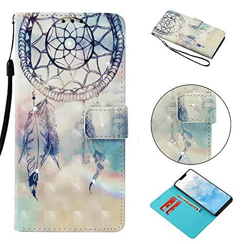 Cozy Hut Huawei Mate 20 Lite Schutzhülle Flip Tasche Handyhülle Brieftasche Wallet Hülle im Bookstyle Klapphülle mit Standfunktion Leder Hülle für Huawei Mate 20 Lite - Regenbogen Windspiele