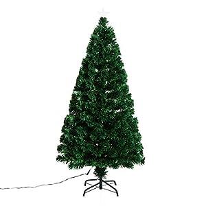 Homcom Weihnachtsbaum künstlicher Christbaum Tannenbaum Baum mit Ständer, Metall, grün,  60x60x150 (LxBxH)