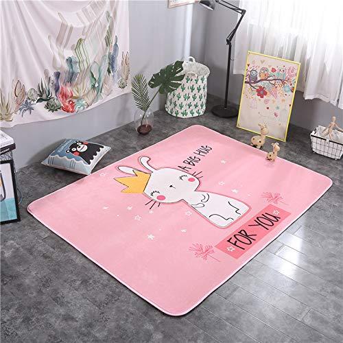 Verdickungsmatte Cartoon Tier Wohnzimmer Schlafzimmer Teppich rutschfeste Hause Krone Kaninchen 145 * 195cm ()