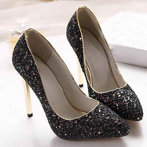 QIYUN.Z Femmes Paillettes Bout Pointu Talon Aiguille Appartements Peu Profonds Chaussures De Mariage Brillant Noir