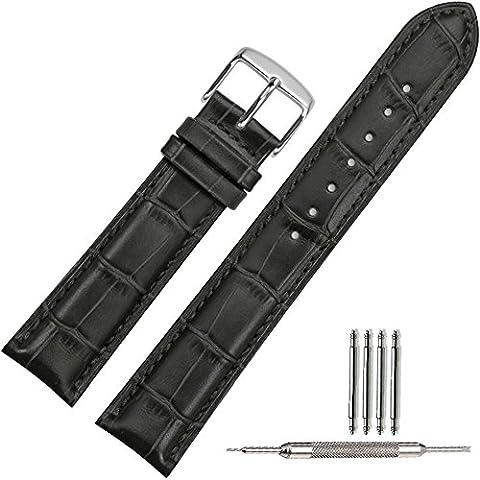 TStrap Cinturino 18mm Per Orologio Da Polso Uomo Donna Di Pelle Cachi Cinturini Da Ricambio Nero