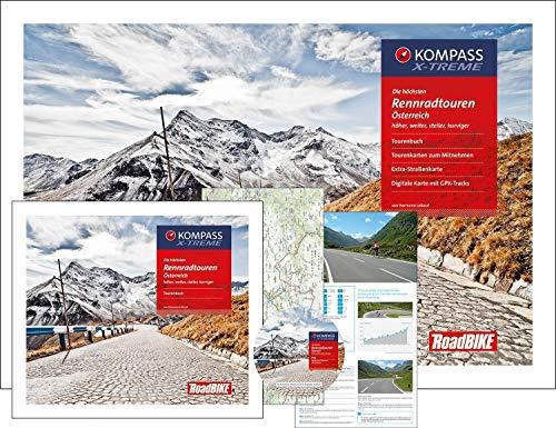 Die höchsten Rennradtouren Österreich: mit Tourenbuch, Tourenkarten zum Mitnehmen, Extra-Straßenkarte, DVD mit GPX-Tracks (KOMPASS-Rennradführer, Band 8086) Track Kompass