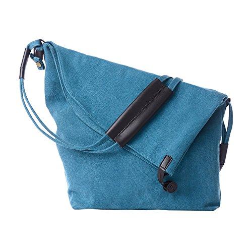 VRIKOO Retro Canvas Crossbody Hobo Bag Unisex Vintage Satchel Messenger Shoulder Bags for Working Shopping School (Rose Red) Blu